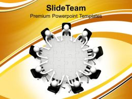 Discussing At Conference Jigsaw Puzzle Table Business Powerpoint Templates Ppt Themes And Graphics 0113