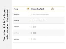 Discussion Points For Project Milestones Achievement