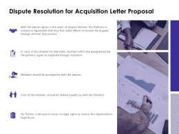 Dispute Resolution For Acquisition Letter Proposal Financial Ppt Powerpoint Slides