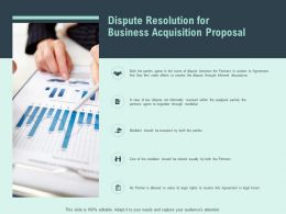 Dispute Resolution For Business Acquisition Proposal Ppt Powerpoint Slides