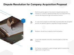 Dispute Resolution For Company Acquisition Proposal Ppt Powerpoint Presentation