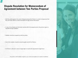 Dispute Resolution For Memorandum Of Agreement Between Two Parties Proposal Ppt Slides