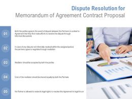 Dispute Resolution For Memorandum Of Agreement Contract Proposal Ppt Image