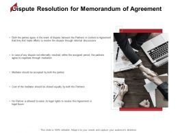 Dispute Resolution For Memorandum Of Agreement Discuss Ppt Powerpoint Presentation Picture