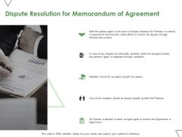 Dispute Resolution For Memorandum Of Agreement Ppt Powerpoint Presentation Styles