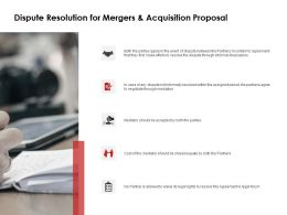 Dispute Resolution For Mergers And Acquisition Proposal Ppt Slides