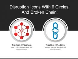 Disruption Icons With 6 Circles And Broken Chain