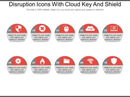 Disruption Icons With Cloud Key And Shield