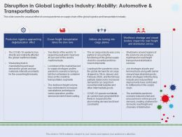 Disruption In Global Logistics Industry Mobility Deglobalization Effect Ppt Shows