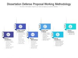 Dissertation Defense Proposal Working Methodology