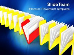 Distinct Red Folder In Row Of Folders Powerpoint Templates Ppt Themes And Graphics