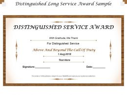 Distinguished Long Service Award Sample