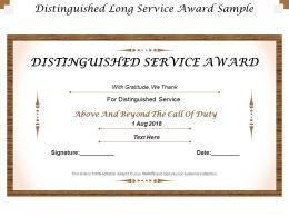 Distinguished Long Service Award Sample