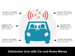 Distraction Icon With Car And Noise Waves