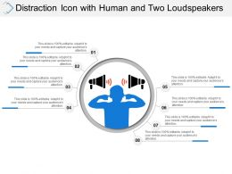 Distraction Icon With Human And Two Loudspeakers