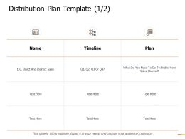 Distribution Plan Template Timeline Ppt Powerpoint Presentation Gallery Slide