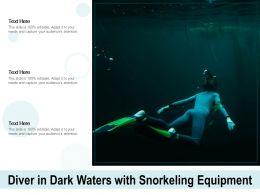 Diver In Dark Waters With Snorkeling Equipment