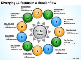 diverging 11 factors circular flow Spoke Process PowerPoint Slides