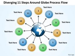 diverging 11 steps around globe process flow Radial Diagram PowerPoint templates
