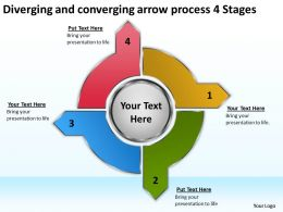 diverging and converging arrow process 4 stages Charts Networks PowerPoint Slides
