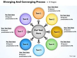 diverging and converging process 8 stages Circular Flow Motion Diagram PowerPoint templates