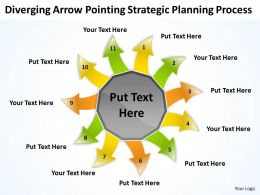 diverging arrow pointing strategic planning process Arrows Network Software PowerPoint templates