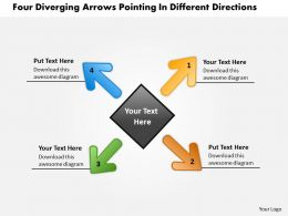 diverging arrows pointing different directions Circular Flow Layout Network PowerPoint Slides