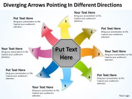 diverging arrows pointing different directions Circular Motion Network PowerPoint Slides