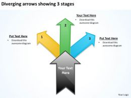 diverging arrows showing 3 stages Charts and Networks PowerPoint Slides