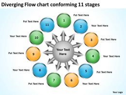 diverging flow chart conforming 11 stages Circular Spoke Process PowerPoint templates