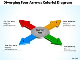 diverging four arrows colorful flow diagram Circular Motion PowerPoint templates