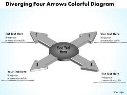 diverging_four_arrows_colorful_flow_diagram_circular_motion_powerpoint_templates_Slide02