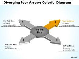 diverging_four_arrows_colorful_flow_diagram_circular_motion_powerpoint_templates_Slide03