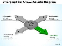 diverging_four_arrows_colorful_flow_diagram_circular_motion_powerpoint_templates_Slide04