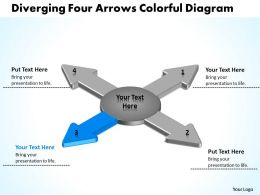 diverging_four_arrows_colorful_flow_diagram_circular_motion_powerpoint_templates_Slide05