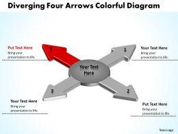 diverging_four_arrows_colorful_flow_diagram_circular_motion_powerpoint_templates_Slide06