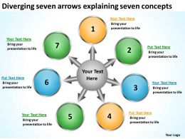 diverging seven arrows explaining concepts Diagram Software PowerPoint Slides