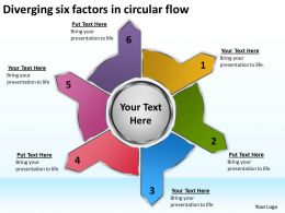diverging six factors circular flow Arrows Diagram Software PowerPoint Slides