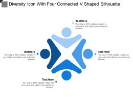 Diversity Icon With Four Connected V Shaped Silhouette