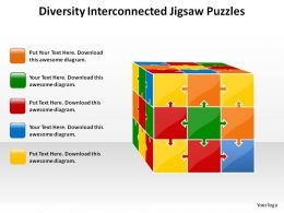 diversity interconnected jigsaw puzzles into rubiks cube powerpoint templates powerpoint info graphics