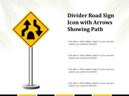 Divider Road Sign Icon With Arrows Showing Path