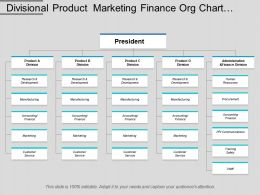 Divisional Product Marketing Finance Org Chart Template