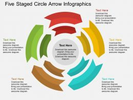 dj Five Staged Circle Arrow Infographics Flat Powerpoint Design