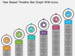 Dj Year Based Timeline Bar Graph With Icons Flat Powerpoint Design