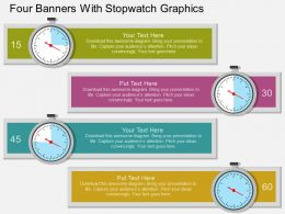 dk Four Banners With Stopwatch Graphics Flat Powerpoint Design