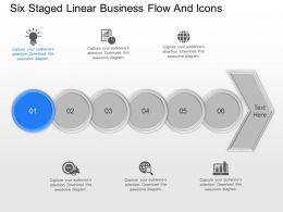 dk Six Staged Linear Business Flow And Icons Powerpoint Template