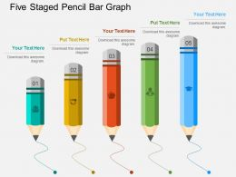dl Five Staged Pencil Bar Graph Flat Powerpoint Design