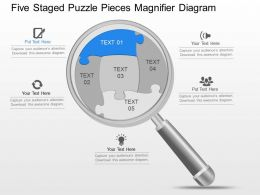 dl Five Staged Puzzle Pieces Magnifier Diagram Powerpoint Template