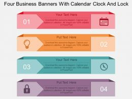 dl Four Business Banners With Calendar Clock And Lock Flat Powerpoint Design