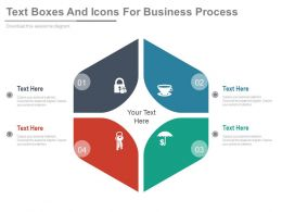 dl Four Text Boxes And Icons For Business Process Flat Powerpoint Design